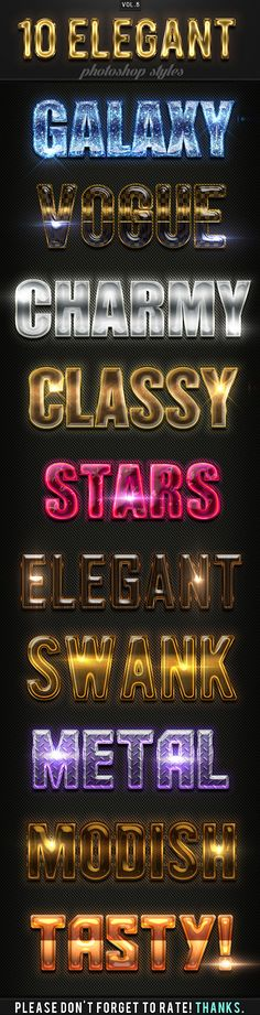 10 Elegant Photoshop Styles Vol.5 - Text Effects Actions