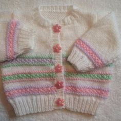 Ravelry: Pastel stripes baby cardigan pattern by Mary Edwards Baby Cardigan Knitting Pattern Free, Crochet Baby Jacket, Baby Sweater Patterns, Knitted Baby Cardigan, Knit Baby Sweaters, Cardigan Pattern, Baby Knitting Patterns, Baby Patterns, Lace Cardigan