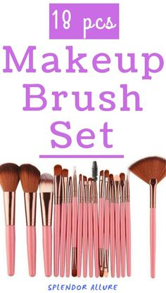 The most popular 18 pcs Makeup Brush Set comes with high quality leather case, easy to carry and luxurious style. The best 18 pcs Makeup Brush Set Diy Makeup Vanity, Makeup Geek, Makeup Tools, Makeup Ideas, Organic Skin Care, Natural Skin Care, Makeup Brush Roll, Korean Makeup Look, Lip Balm Recipes