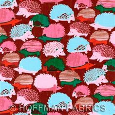 Cotton Hedgehogs Wildlife Pets Nature Animals Pink Brown Children Kids Woods Woodlands Woodstock Cotton Fabric Print by the Yard Fa Nature Animals, Zoo Animals, Fabric Crafts, Sewing Crafts, Kids Wood, Cotton Quilts, Cotton Fabric, Pink Brown, Printing On Fabric