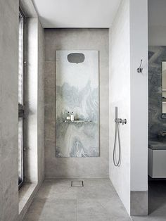 Beautiful marble shower room design with an inox shower from the Piet Boon by COCOON collection Black Bathroom Taps, Copper Bathroom, Dark Bathrooms, Small Bathroom, Shower Bathroom, Bathroom Fixtures, Luxury Bathrooms, Bathroom Modern, Shower Set