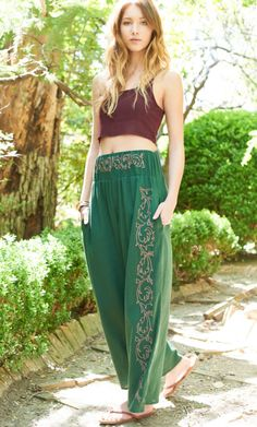 Green Embroidered Turkish Pants. #discoverturkey #pants #embroidered #earthboundtrading