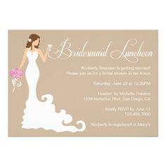 Chic Brown Modern Bride Posh Bridesmaid Luncheon Announcement
