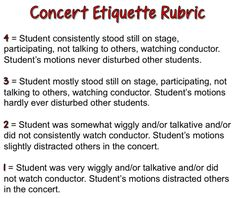 Concert Etiquette Rubric (I'd probably include something about behaving while other groups are onstage.)