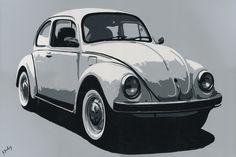 "090SB025 - VW Beetle - 16"" x 12"" Print Only £12.99 9.5"" x 6.5"" Mounted to 14"" x 11"" - £12.99"