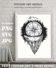 Mountain and compass. Adventure, travel, outdoors, symbol. Tattoo for travelers, climbers, hikers. Compass buried in rock tattoo SVG PNG