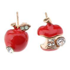 Red apples studs with bite detail