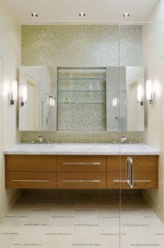 dressing room wall cabinet glass door mirrors shelves contemporary style wall lamps ceiling lights faucets wash basins of Cabinets to Get Dressing Room Wall Cabinet Design Ideas From