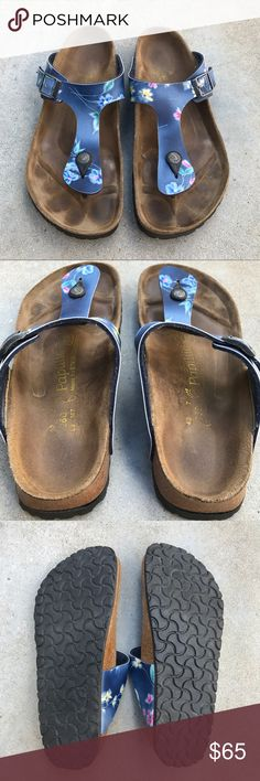 Blue Floral Birkenstock Papillio Gizeh sz 40 Birkenstocks, size 40. Blue floral print. Very good used condition. Slight discoloration on footbed, normal for Birkenstock wear. No other flaws. Birkenstock Shoes Sandals