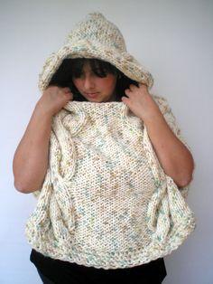 Eskim Hooded Chunky Cape Poncho  Super soft wool by GiuliaKnit