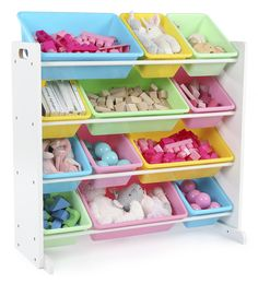 This space-saving Tot Tutors Kids Toy Storage Organizer with 12 Plastic Bins stores lots of children's toys in easy-to-see, easy-to-access plastic bins. The 8 standard and 4 large easy access storage containers are removable, making it fun for kids t Toy Storage Bins, Toy Bins, Storage Containers, Storage Ideas, Smart Storage, Kids Storage, Storage Solutions, Do It Yourself Organization, Toy Organization
