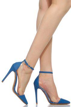 Blue Faux Nubuck Pointed Toe Ankle Strap Vinyl Heels @ Cicihot Heel Shoes online store sales:Stiletto Heel Shoes,High Heel Pumps,Womens High Heel Shoes,Prom Shoes,Summer Shoes,Spring Shoes,Spool Heel,Womens Dress Shoes
