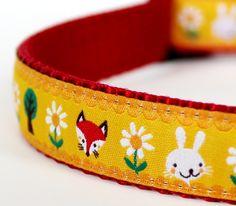 Pet Accessory, Handmade Dog Collar, Sunny Woodland Forest, Animal Print / Last One. $16.00, via Etsy.