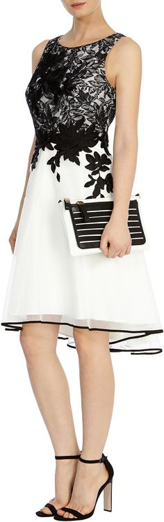 Womens black and white anabelle artwork dress from Coast - £179 at ClothingByColour.com