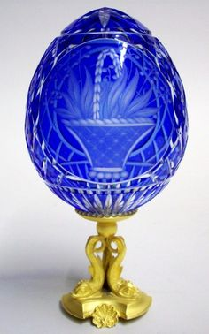 """FABERGE ART GLASS EGG """"Basket of Lilies of  the Valley Egg"""""""