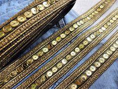 Metallic 25mm Braided Sequin Lace Ribbon Trim Sewing Carnival Dance Sari PP Yard