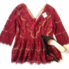 ANTHROPOLOGIE top Lacey with nude material, beautiful maroon color, zipper in the back. Gorgeous. Brand Maeve for Anthropologie. Tags are still on. Pit to pit -appx 18, length appx 25 Anthropologie Tops