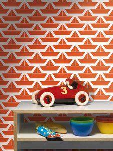 Retro kinderbehang 'Bootjes' - De Oude Speelkamer