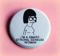 pin pins funny fashion cartoon quote on it nerd feminist galentines day hair accessory bobs burgers tina button jewels