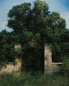abandoned gate by lorraine Abandoned Mansions, Abandoned Houses, Abandoned Places, Art Visionnaire, Beautiful Ruins, Garden Gates, Natural World, The Great Outdoors, That Way