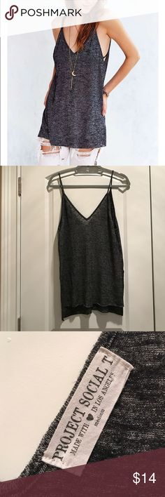 Project Social T Double-V cami From urban outfitters. Dark gray. Good condition! Rayon and polyester. Great for layering Urban Outfitters Tops Camisoles