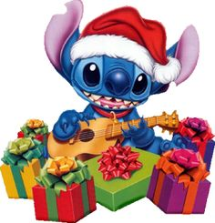 Stitch with a bunch of Christmas presents