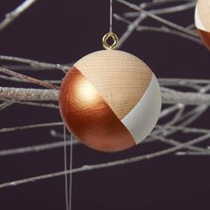 Copper Handpainted Christmas Baubles by OWL & OTTER on Notonthehighstreet