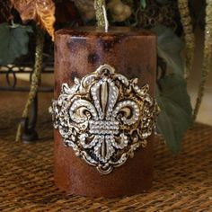 swarovski crystal fleur de lis decor candle home decor swarovski crystal pillar candle decor