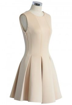 New Favored Pleated Dress in Nude - Retro, Indie and Unique Fashion