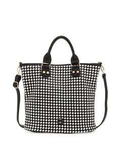 Bardello+Checkerboard+Tote+Bag,+Black/White+by+V+Couture+by+Kooba+at+Neiman+Marcus+Last+Call.