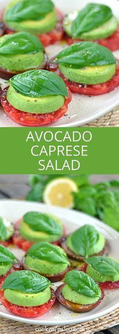 Avocado Caprese Salad Avocado Caprese salad is a paleo take on a Caprese salad with tomatoes and basil fresh from the garden Heirloom tomato avocado salad is the perfect appetizer or lunch gluten free dairy free vegan paleo cookeatpaleo Raw Vegan Recipes, Vegetarian Recipes, Paleo Vegan, Vegan Avocado Recipes, Paleo Diet, Jalapeno Recipes, Paleo Food, Vegetarian Tapas, Raw Vegan Dinners