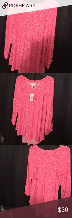 NWT Gorgeous pink polka dot top! Pink with white polka dot top- new with tags! Tops Blouses