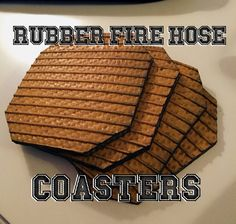 Rubber Fire Hose Coasters Set of 4 Recycled Fire by HodthePods Fire Hose Projects, Fire Hose Crafts, Fire Dept, Fire Department, Firefighter Crafts, Project Ideas, Craft Ideas, Diy Boat, Beer Gifts