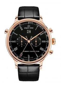 THE RATTRAPANTE  Black Grand Feu enameled dial. 18-carat red gold case. Self-winding mechanical movement, chronograph column wheel. Power reserve of 40 hours. Centered hours and minutes. Centered chronograph seconds and rattrapante hand, chronograph hours counter at 9 o'clock, chronograph minutes counter at 3 o'clock, big date at 12 o'clock. Diameter 45 mm. Numerus Clausus of 88.