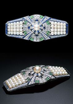 An Art Deco Obi-sash clip 'The Yaguruma', by Mikimoto, Japan, 1930s. The clip with interchangeable settings in 12 different forms, attracted crowds at the Paris Expo in 1937. Its unique design was a breakthrough in multi-functional jewellery. Sold in Paris, it disappeared from public view, then reappeared at an auction in New York in 1989. It was purchased by Mikimoto Pearl Island where it remains today. #Mikimoto #ArtDeco #clip