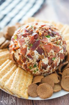 This Savory Bacon Cheese Ball recipe is great for dressy occasions like a cocktail buffet or any holiday gathering. Full of flavor and creaminess. Wedding Appetizers, Bacon Appetizers, Appetizer Recipes, Dessert Recipes, Desserts, Cheese Ball Recipes, Milk Recipes, Detox Recipes, Family Fresh Meals