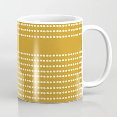 Buy Spotted, African Pattern in Yellow Coffee Mug by Megan Morris. Worldwide shipping available at Society6.com. Just one of millions of high quality products available. Mustard Yellow Walls, Yellow Wall Art, Unique Coffee Mugs, Tea Mugs, Coffee Cups, African, Fancy, Ceramics, Wraparound