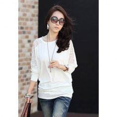 $7.22 Loose Fit Scoop Neck Lace Splicing Hook Flower Hollow Out Batwing Sleeve Cotton Blouse For Women