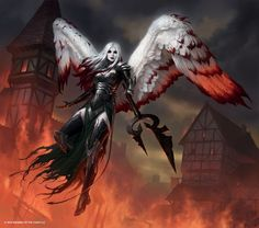 Avacyn, the Purifier | Art by James Ryman | dark angel, female demon | red and  black warrior angel | flying reaper | fantasy art - character concept design