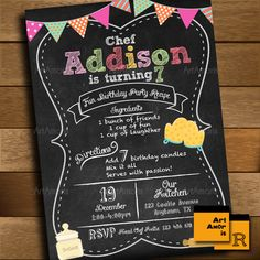 Baking Invitation, Birthday Invitation, Cooking Invitation, Little Chef Invitation, Chalkboard Recipe Bake Shop, Cookie Decorating Party R15 by ArtAmoris on Etsy https://www.etsy.com/listing/258474261/baking-invitation-birthday-invitation