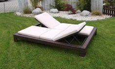 Exclusive Doppel Liege VIAREGGIO, Stahl + Polyrattan Braun, Incl. Auflagen  Gartenmoebel Einkauf