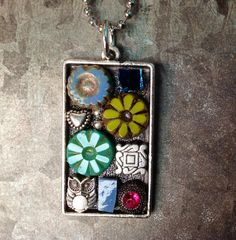 So fun! Bohemian Jewelry Necklace Mosaic  Flowers de Hoot by LauraKAiken