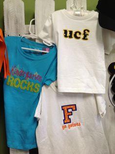 GET YOUR SCHOOL SPIRIT ON!!!  $15-$20  #schoolspirit  #applique  #monogramming  #ucf  #kindergartenrocks #leisalovelydesigns