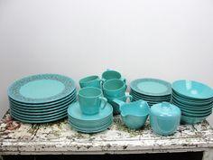 Vintage blue paisley Prolon Melmac dinnerware set 8 by ByGoneYears, $75.00