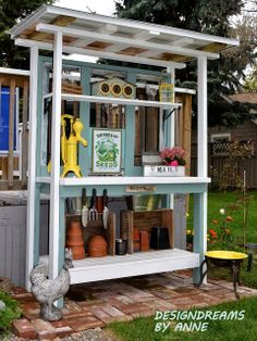 DesignDreams by Anne: How to Build a Potting Bench Part II – Add a Roof - Modern Potting Station, Potting Tables, Wood Shed Plans, Build A Greenhouse, Potting Sheds, Shed Design, Garden Design, Diy Bench, Building A Shed