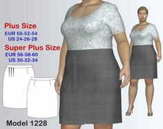 Knee-Length Plus size Business Skirt sewing Pattern, Women's sizes 24-34