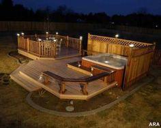 New Backyard Hot Tub Deck Jacuzzi Ideas Hot Tub Deck, Hot Tub Backyard, Backyard Privacy, Backyard Ideas, Landscaping Ideas, Hot Tub Privacy, Backyard Retreat, Nice Backyard, Romantic Backyard