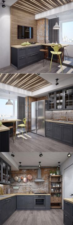 Exterior design apartment living rooms ideas for 2019 Kitchen Wall Design, New Kitchen Designs, Modern Kitchen Design, Kitchen Layout, Kitchen Interior, Kitchen Ideas, Decor Interior Design, Modern Interior, Interior Decorating