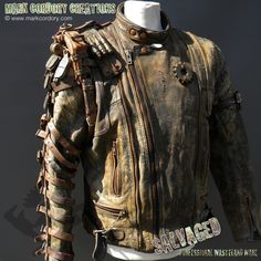 Post Apocalyptic motorcycle jacket conversion for LARP & Airsoft. SALVAGED Ware enquiries welcome at www.markcordory.com
