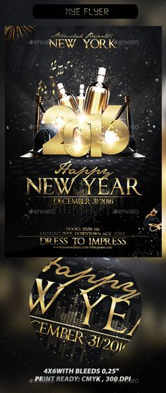 New Years Eve Flyer Template PSD #design Download: http://graphicriver.net/item/new-years-eve-flyer-template/14099288?ref=ksioks